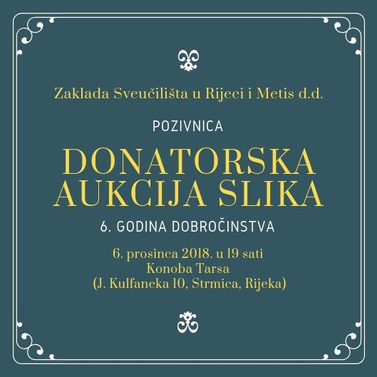 Donatorska aukcija slika, Metis,m Zaklada, Sportski savez osoba s invaliditetom grada Rijeke, Dječji dom Tić Rijeka